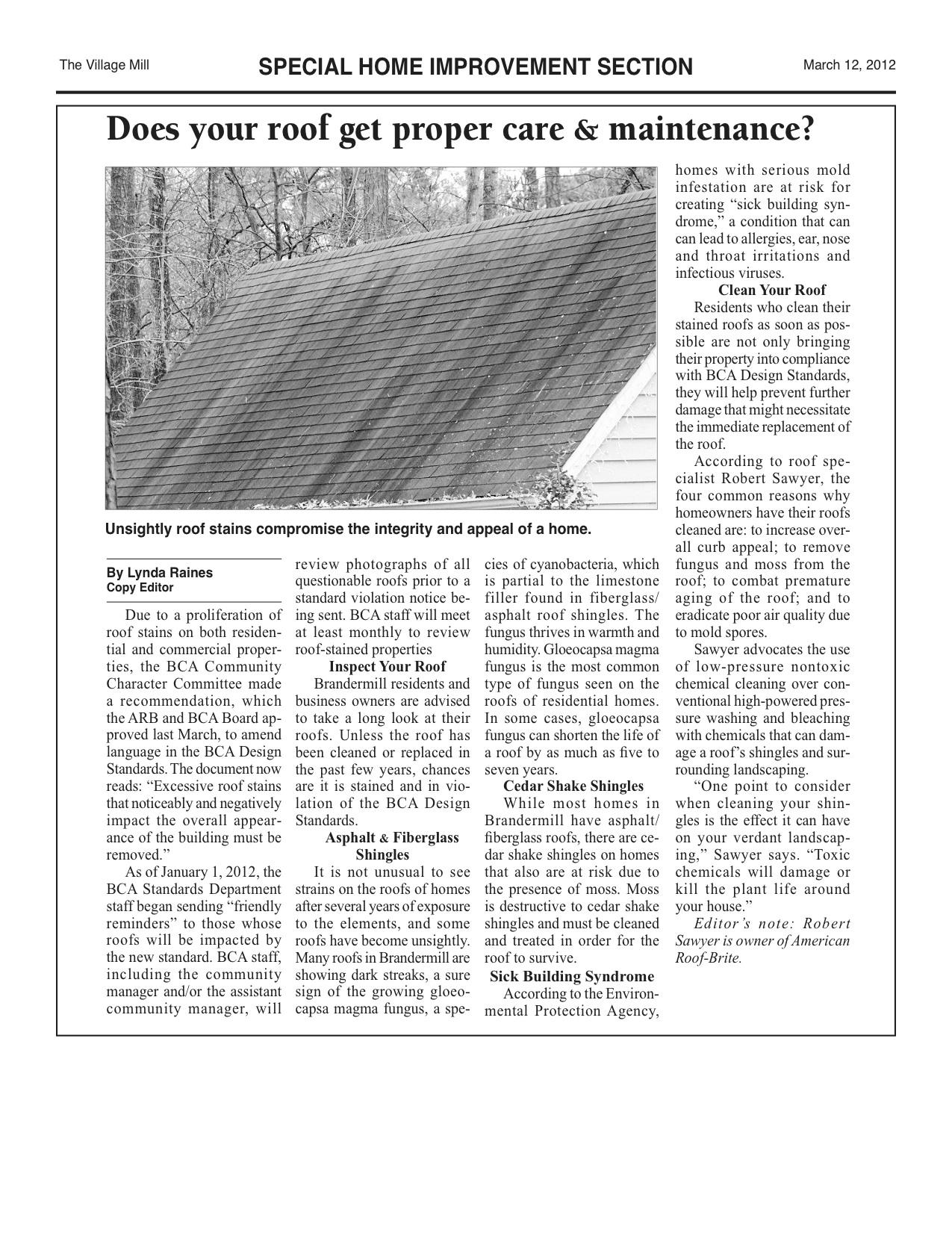 Brandermill Village Mill Paper 2012